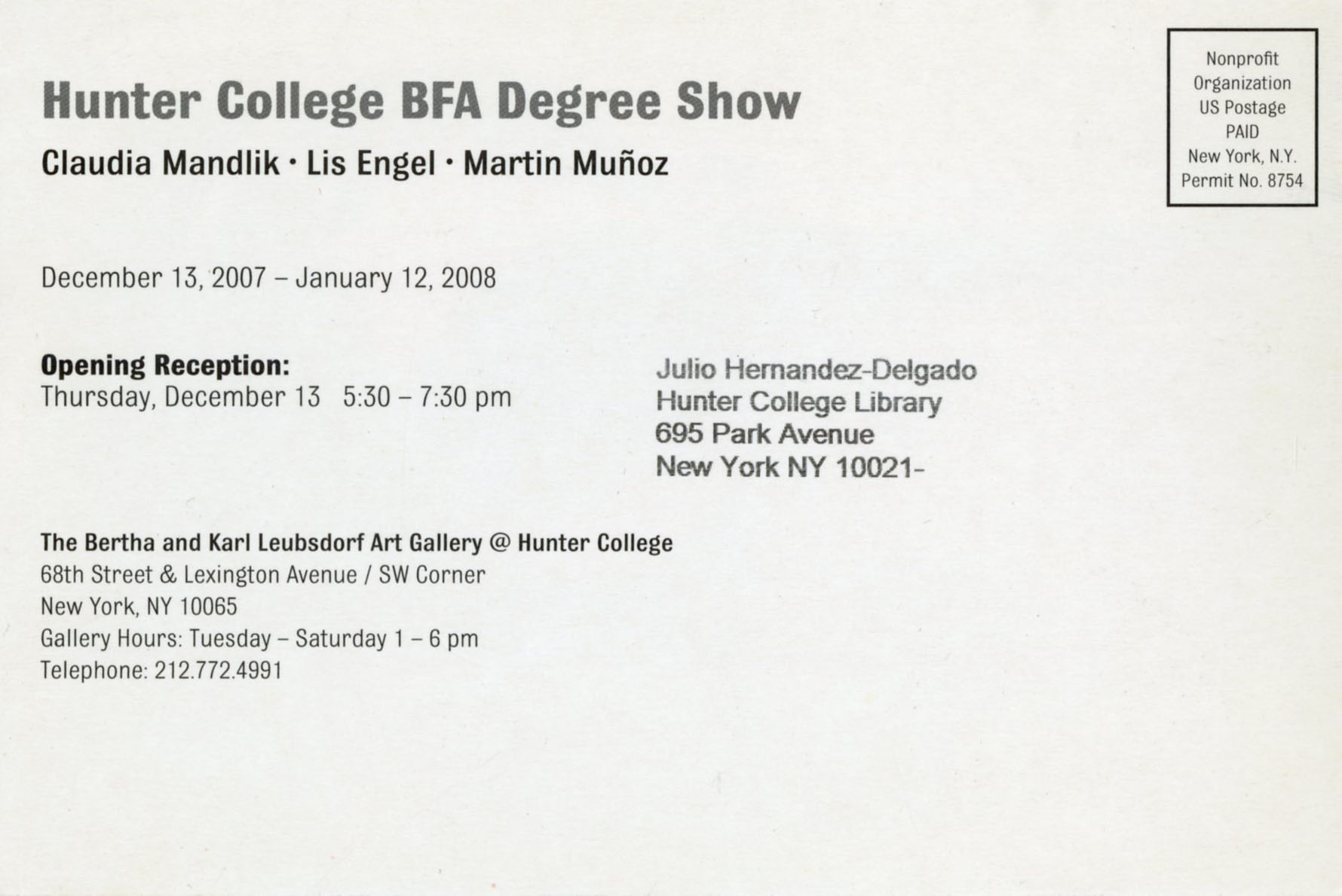 Hunter College BFA Degree Show · Archives & Special Collections