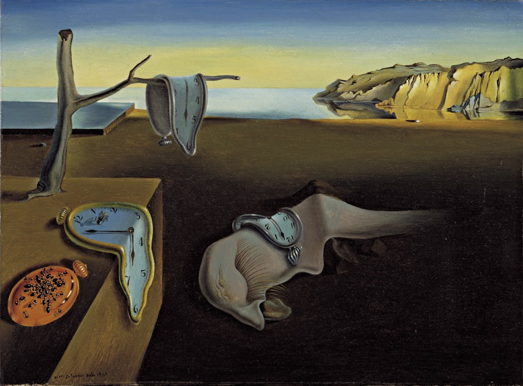 "image of Salvador Dali painting ""The Persistence of Memory,"" a surrealist landscape with melting clocks"