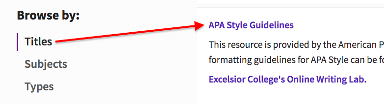 Databases Browse By menu with Titles selected and a red arrow pointing right towards APA Style Guidelines