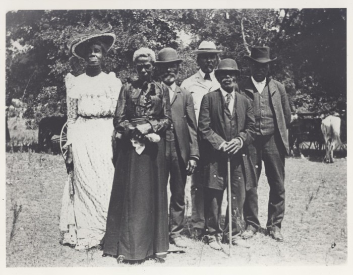 People dressed up to celebrate Emancipation Day, June 19, 1900