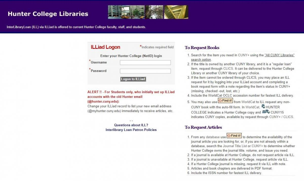 InterLibrary Loan login screen