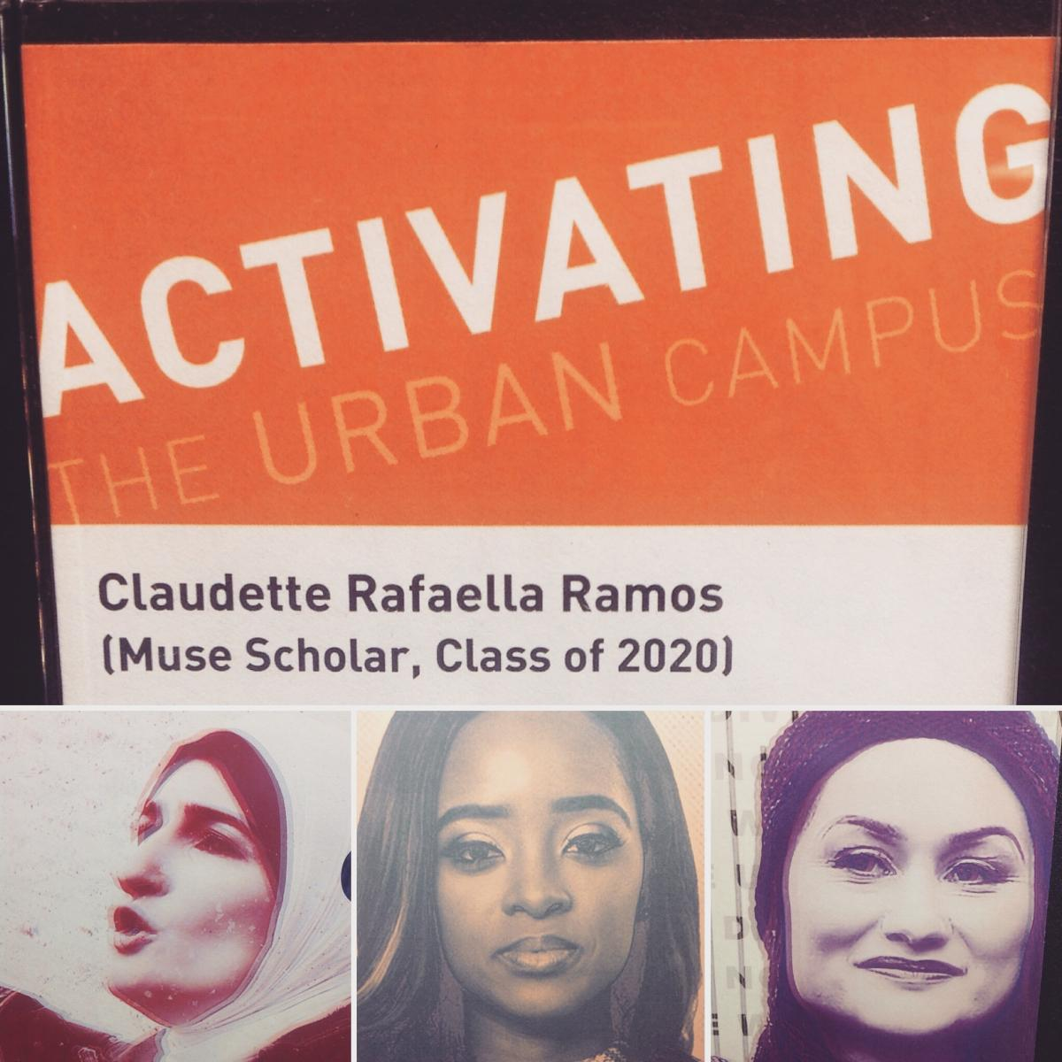 Detail from Activating the Urban Campus exhibit featuring the organizers of the Women's March on Washington