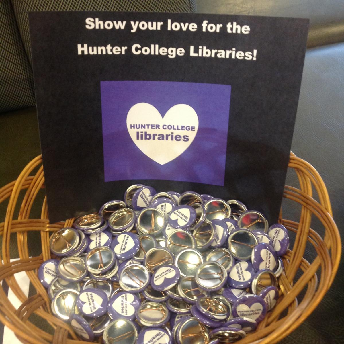 Basket of Hunter College Libraries buttons