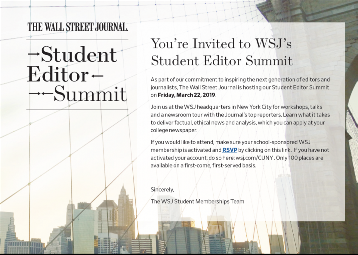 Wall Street Journal student editor summit flyer with link (text is copied above)