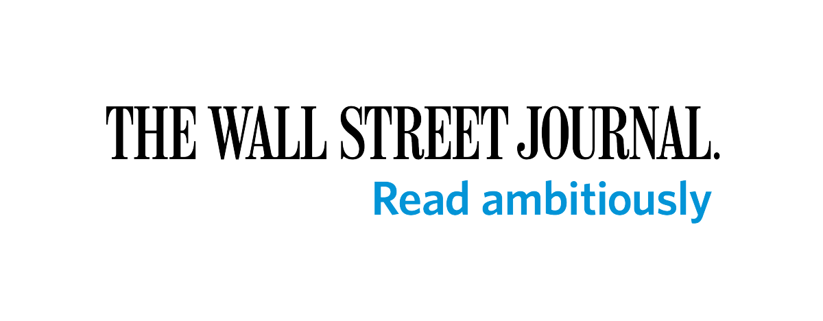 "Wall Street Journal header in black. In blue lettering it reads ""Read ambitiously."""