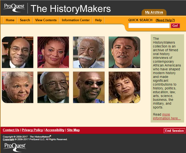Homepage of The HistoryMakers website with images of prominent African Americans