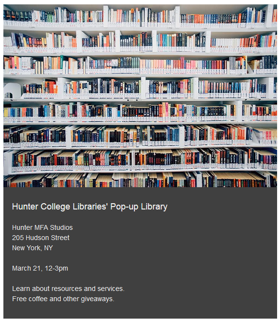 Image of bookshelves on a flyer containing information about the pop-up library, also posted here as text.