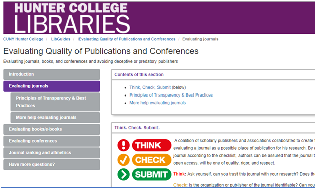 Alt text: screen shot of Evaluating Quality of Publications and Conferences Guide