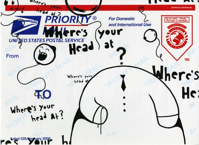 drawings of questions over top of a USPS priority mail envelope